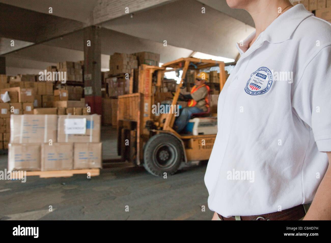 USAID distribution at the port in San Salvador, El Salvador Stock Photo