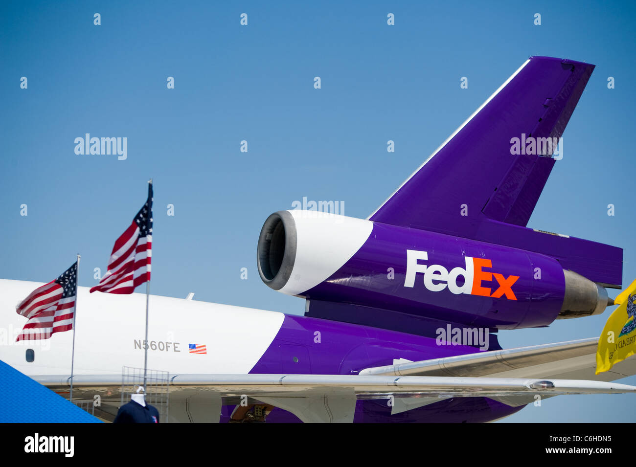 Fedex Logo Sign Symbol On Turbine Engine Of Commercial Aircraft