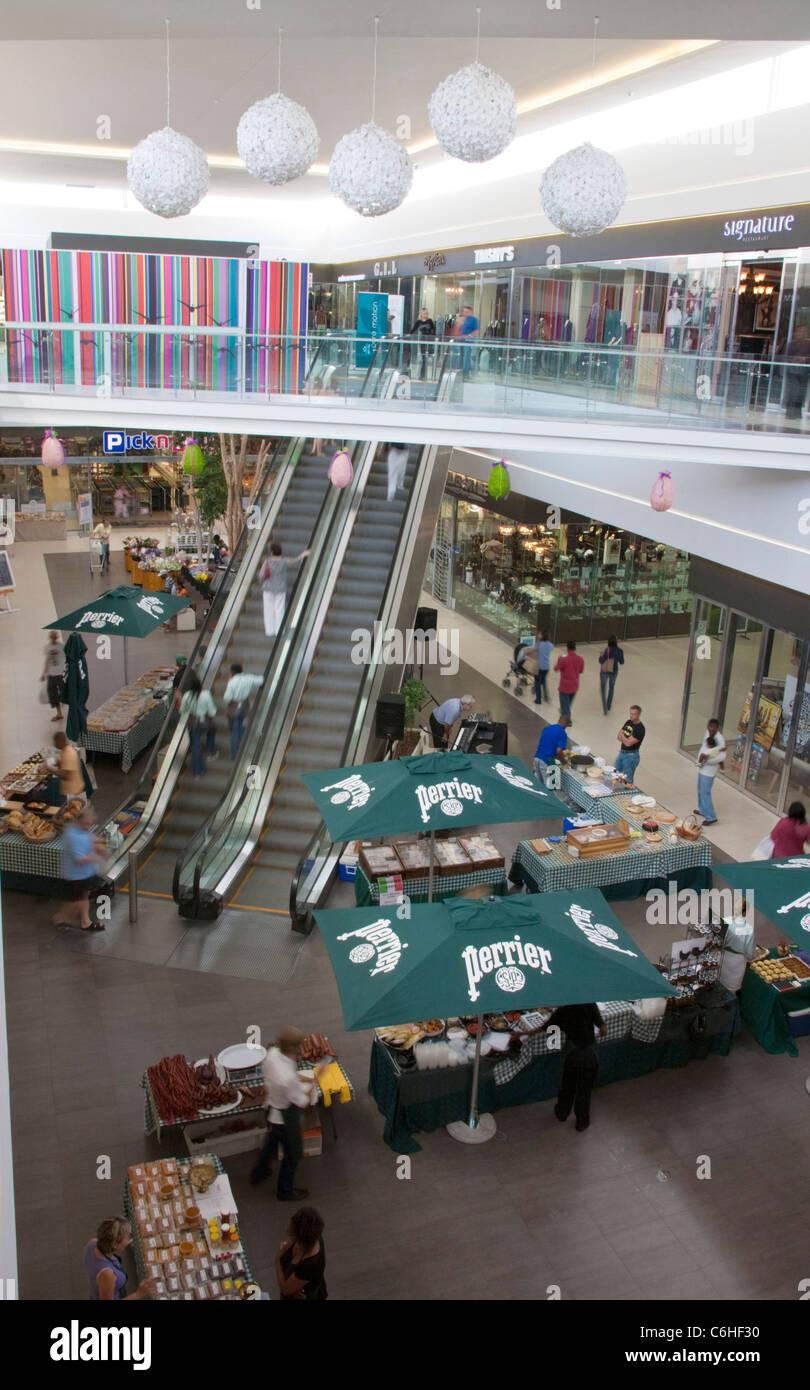 Shopping mall interior in Morningside, Sandton - Stock Image