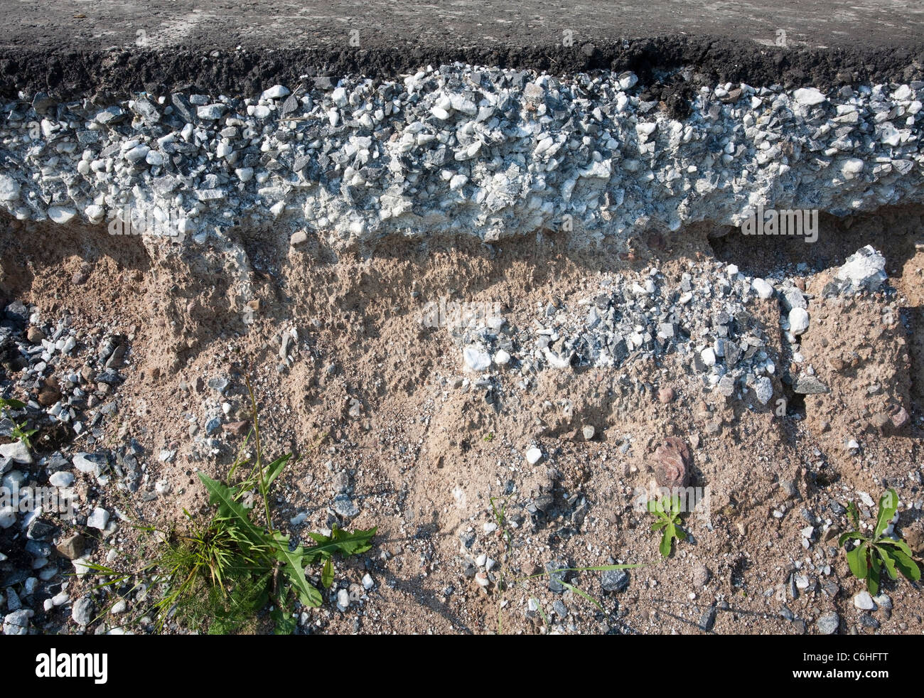 Cross-section showing the layers of road construction - Stock Image