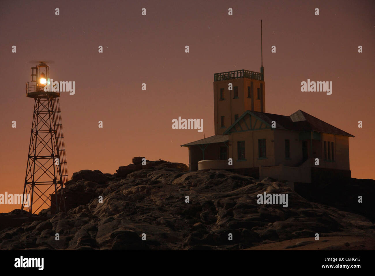 Luderitz light house at night - Stock Image