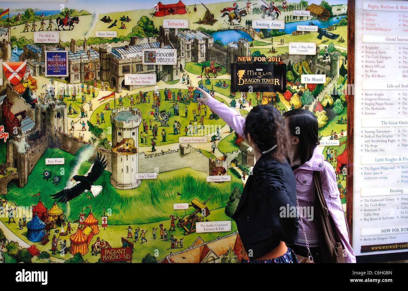 Warwick Castle Map Visitors map at Warwick Castle, UK Stock Photo: 38494729   Alamy