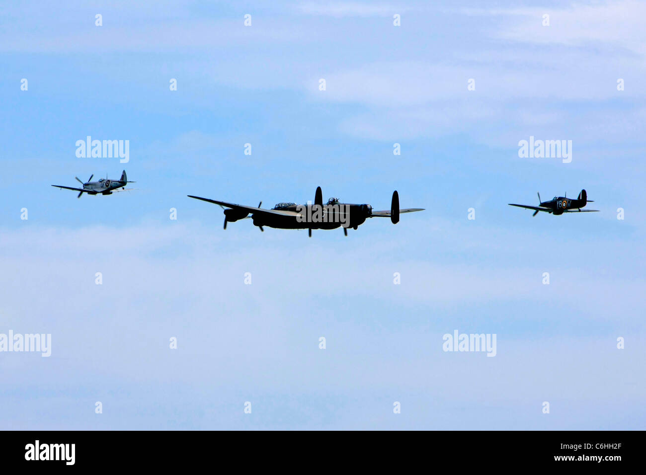 The Battle of Britain Memorial Flight Spitfire, Lancaster and Huricane - Stock Image