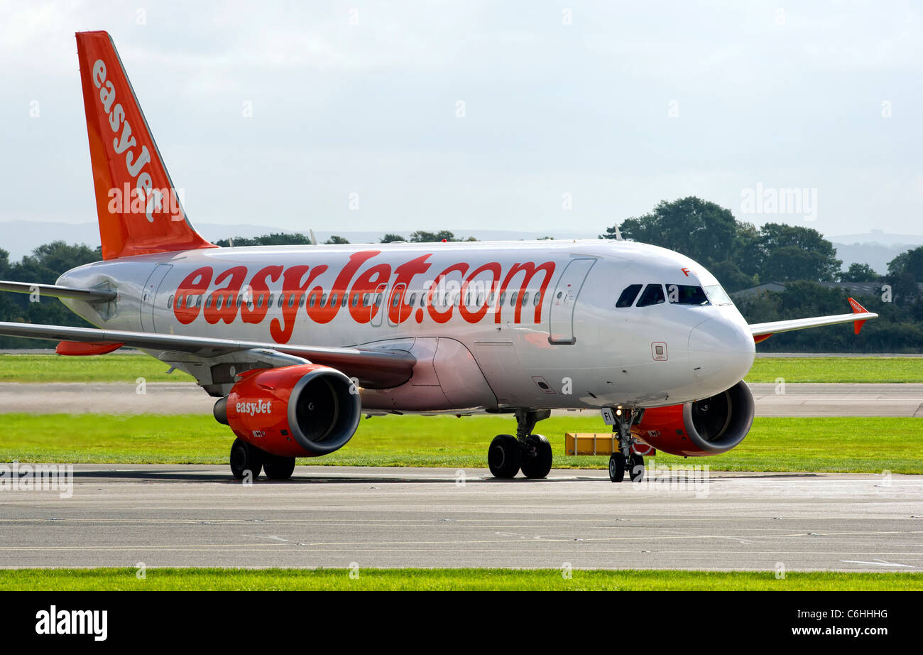 EasyJet aircraft preparing for take off from Manchester Airport, England - Stock Image