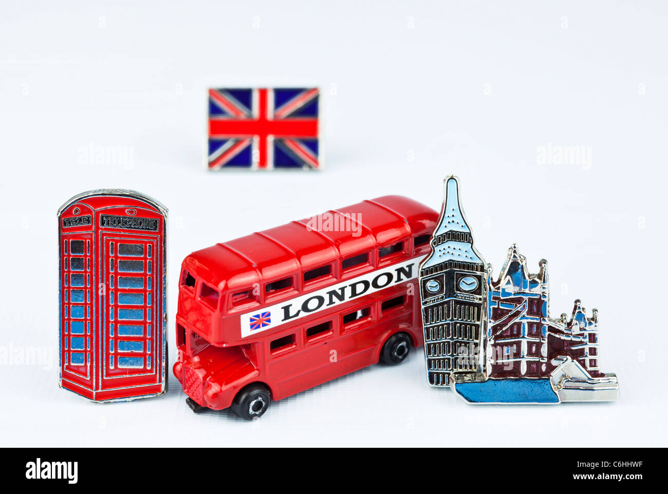 London souvenirs cut out on a white background - Stock Image