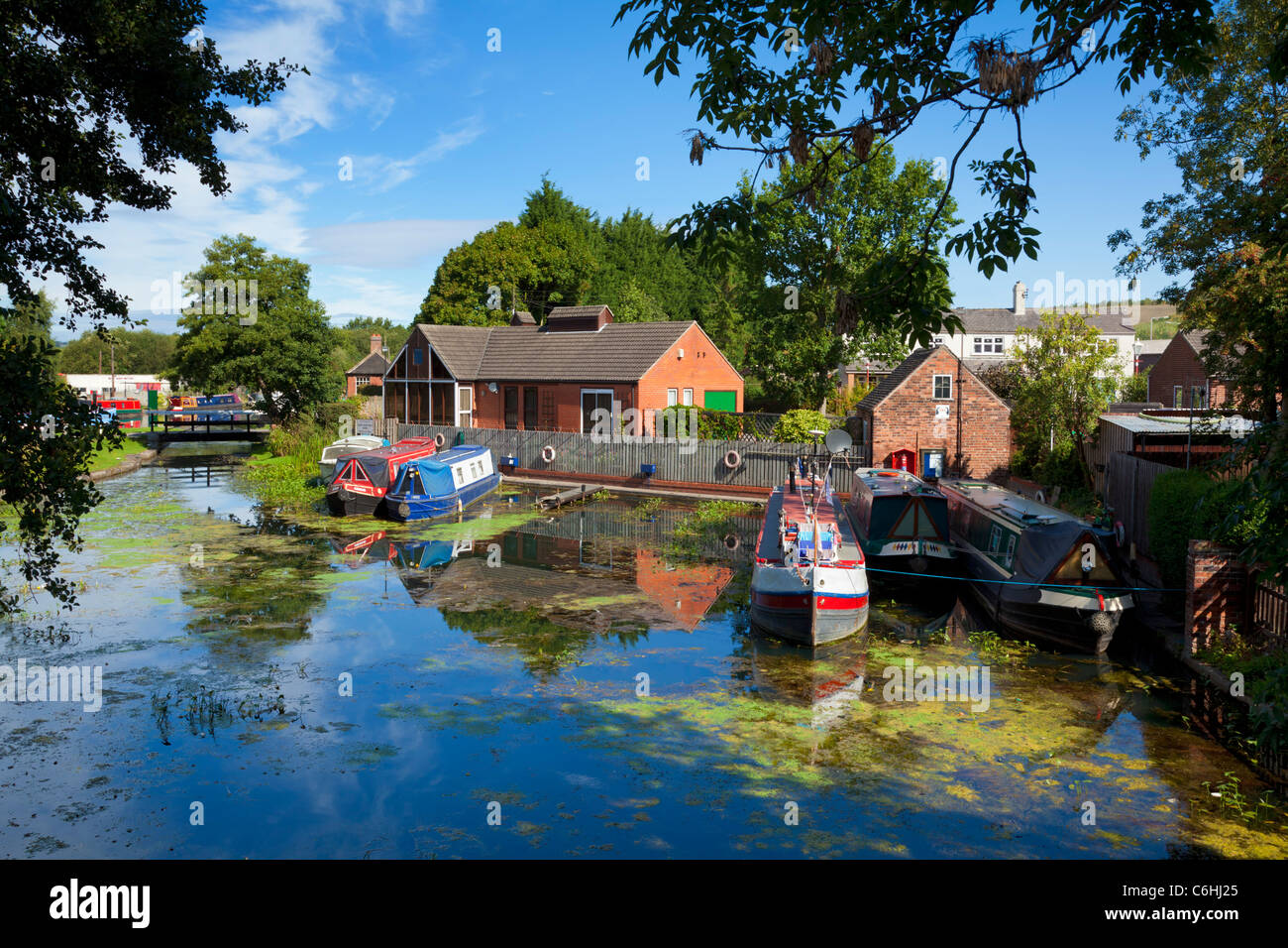 Langley Mill basin on the Erewash canal at the Great Northern Basin Langley Mill Nottinghamshire England UK GB EU - Stock Image