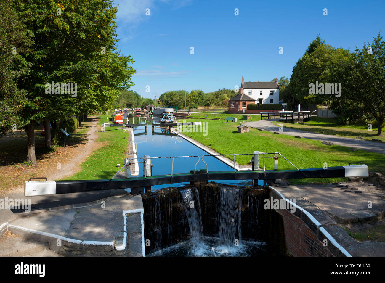 Langley Mill lock on the Erewash canal at the Great Northern Basin Langley Mill Nottinghamshire England UK GB EU - Stock Image