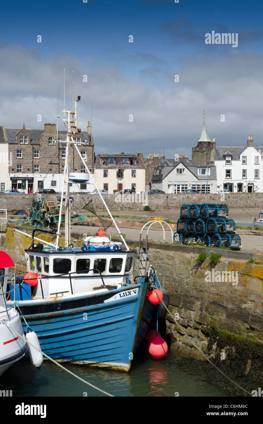 Fishing boat moored at Stonehaven Harbour - Kincardienshire - Stock Image