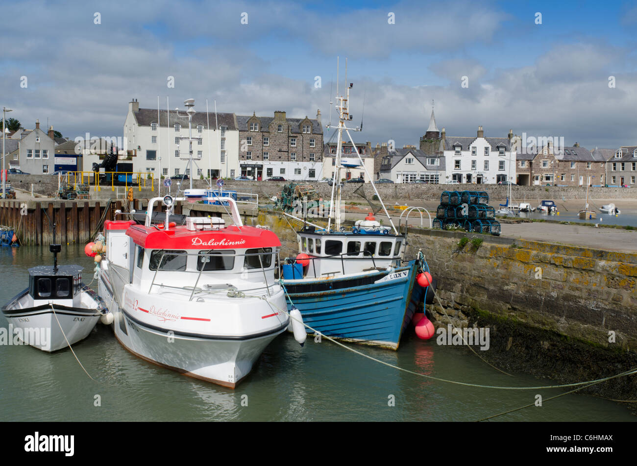Fishing boats moored in Stonehaven Harbour - Kincardienshire - Stock Image