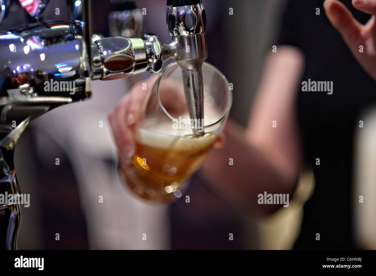 pouring a beer - Stock Image