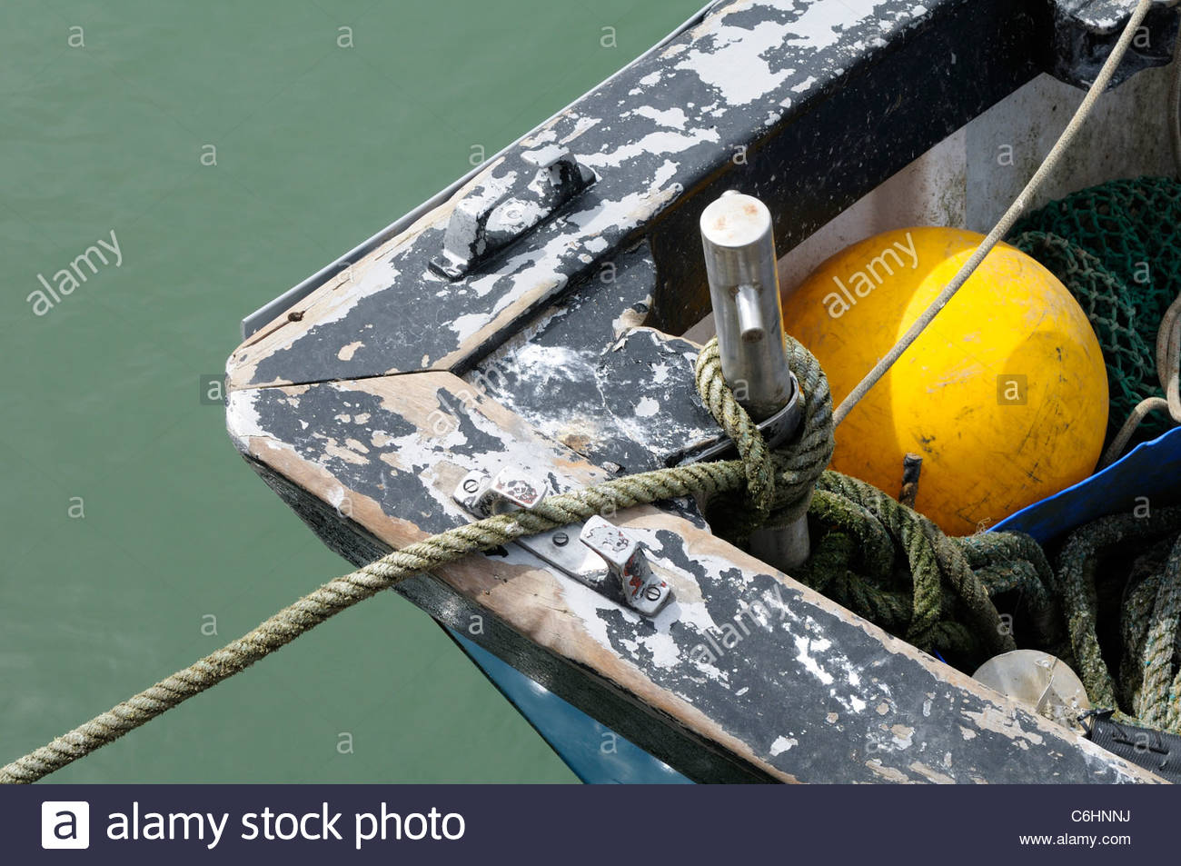 Top down view of a small fishing boat prow and float in Poole, Dorset, England, UK Stock Photo