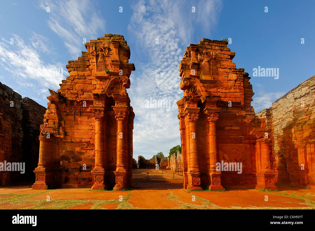 Ruins of the Jesuit reduction San Ignacio Mini, Church gate, Misiones Province, Argentina - Stock Image