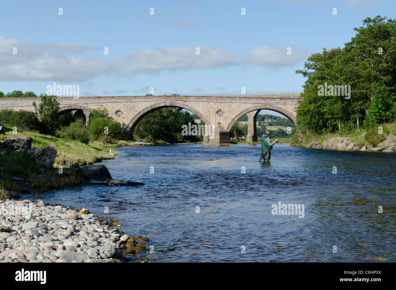 Railway viaduct and road bridge across North River Esk at St Cyrus National Nature Reserve - Kincardineshire - Stock Image