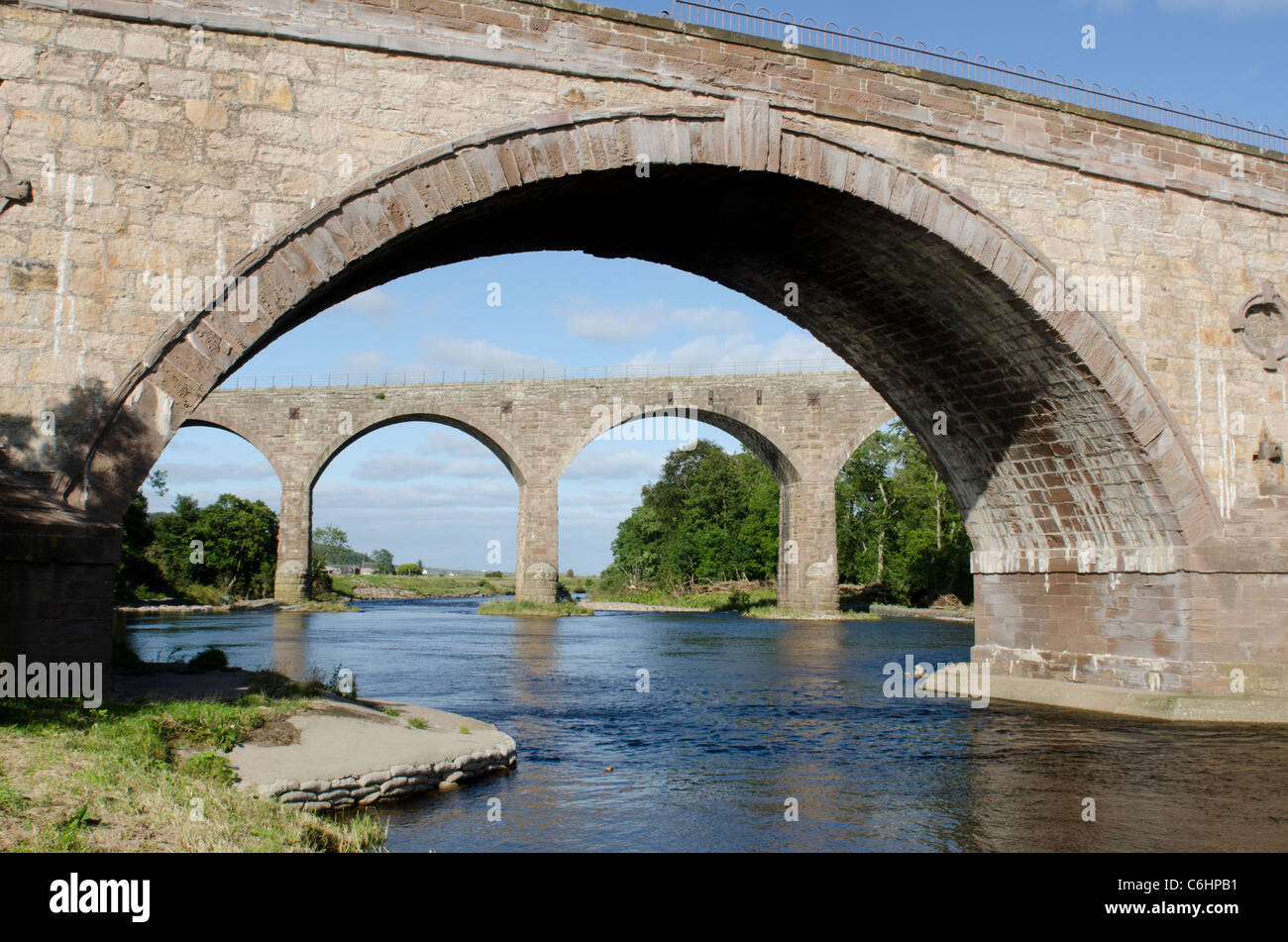 Railway viaduct and road bridge across North River Esk at St Cyrus National Nature Reserve 2 - Kincardineshire - Stock Image