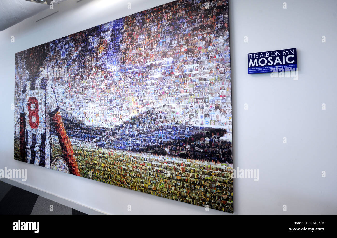 The Brighton and Hove Albion Fan mosiac made from thousands of photo's of fans and depicting an Albion legend - Stock Image