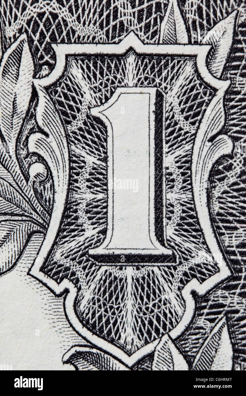 Digit One from dollar banknote close-up - Stock Image