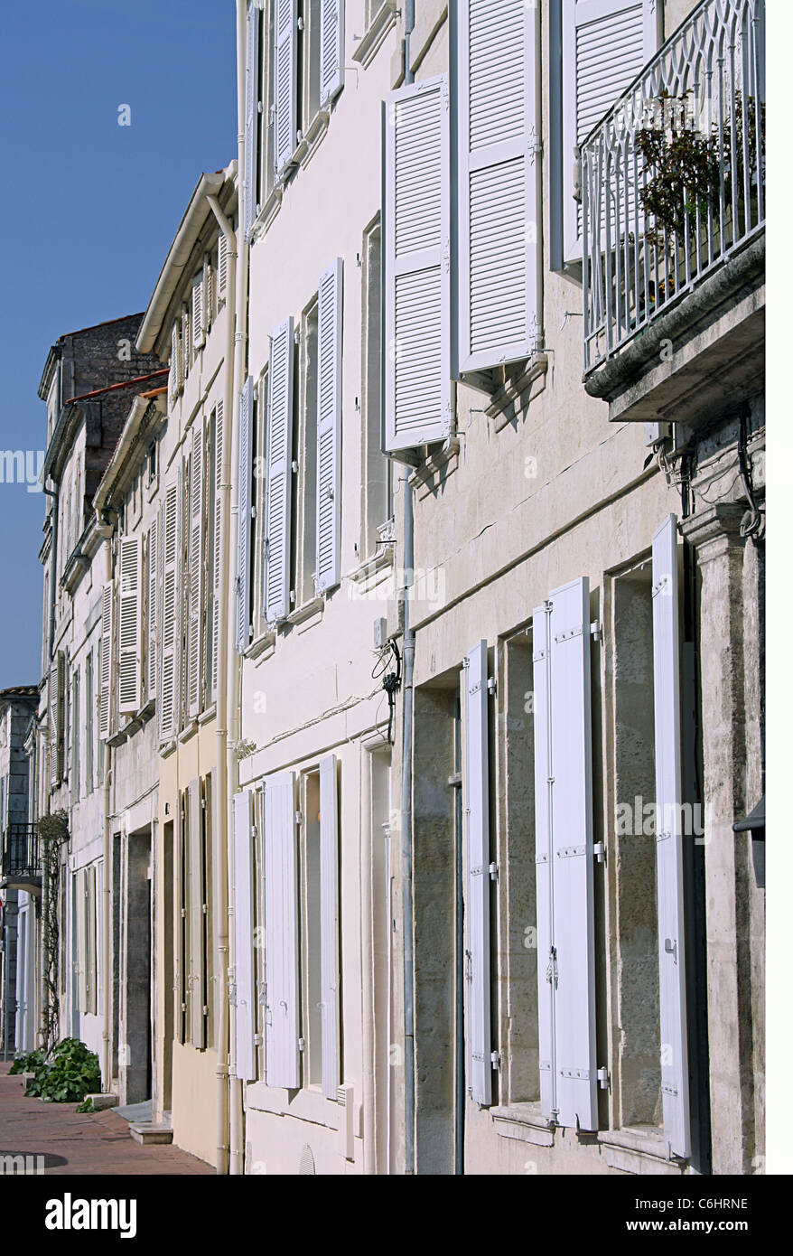 Oblique view of elevations of C18 houses in Rochefort, Charente Maritime, France - Stock Image