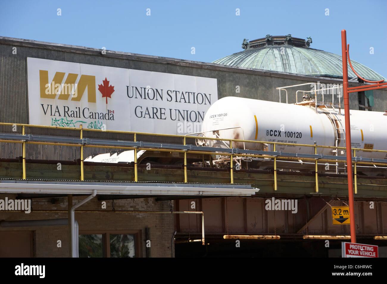 rear of union station via rail canada track winnipeg manitoba canada - Stock Image