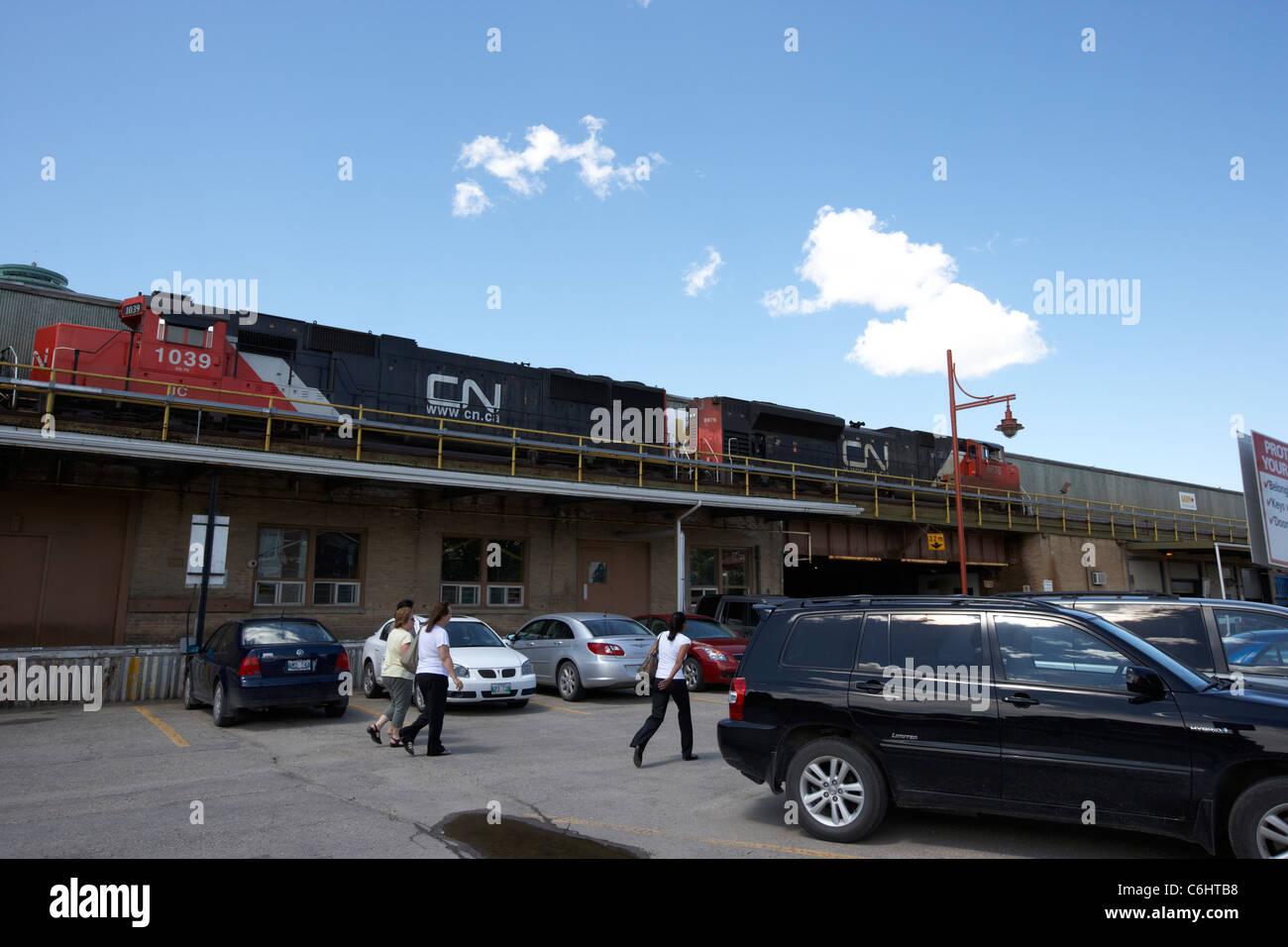 car park and locomotives at rear of union station winnipeg manitoba canada - Stock Image