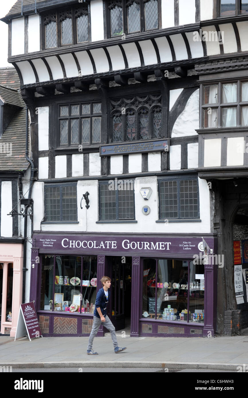 The house where King Henry VII lodged in 1485 at Wyle Cop in Shrewsbury Shropshire England Uk - Stock Image