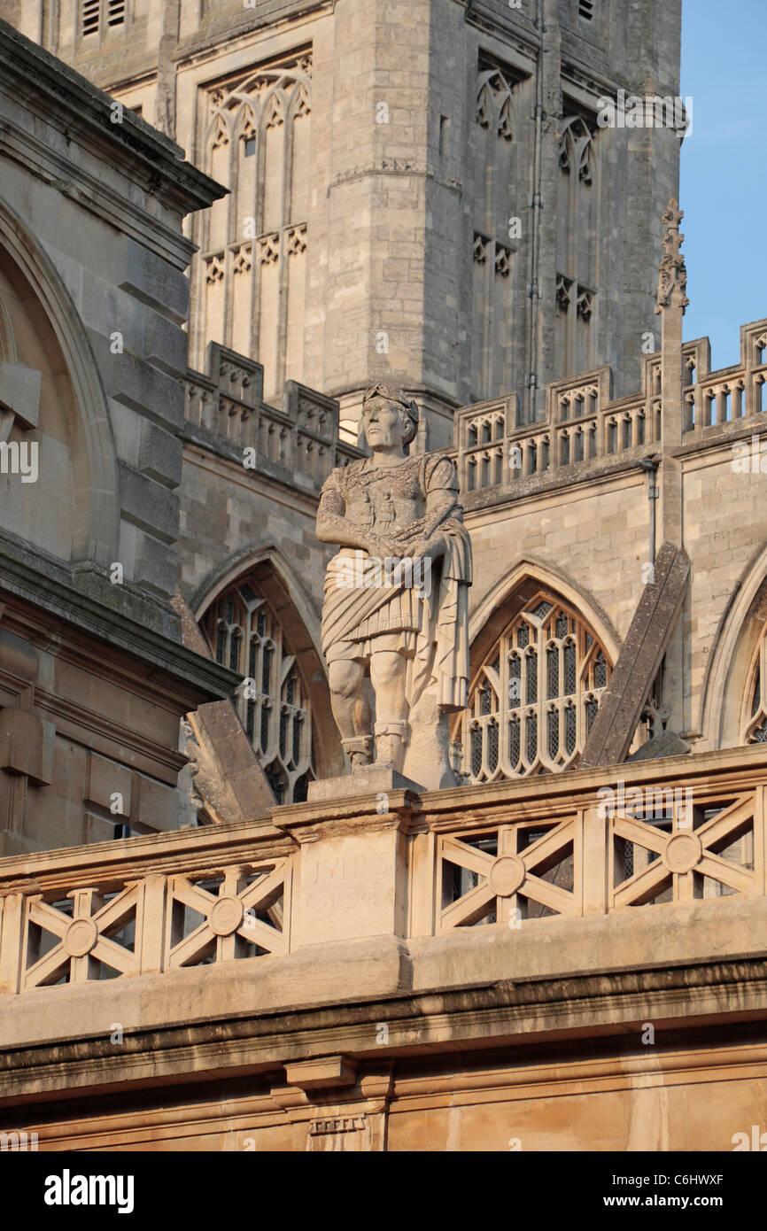 Statue of Julius Caesar on the Terrace above the Great Bath, The Roman Baths, Bath, Somerset, England. - Stock Image