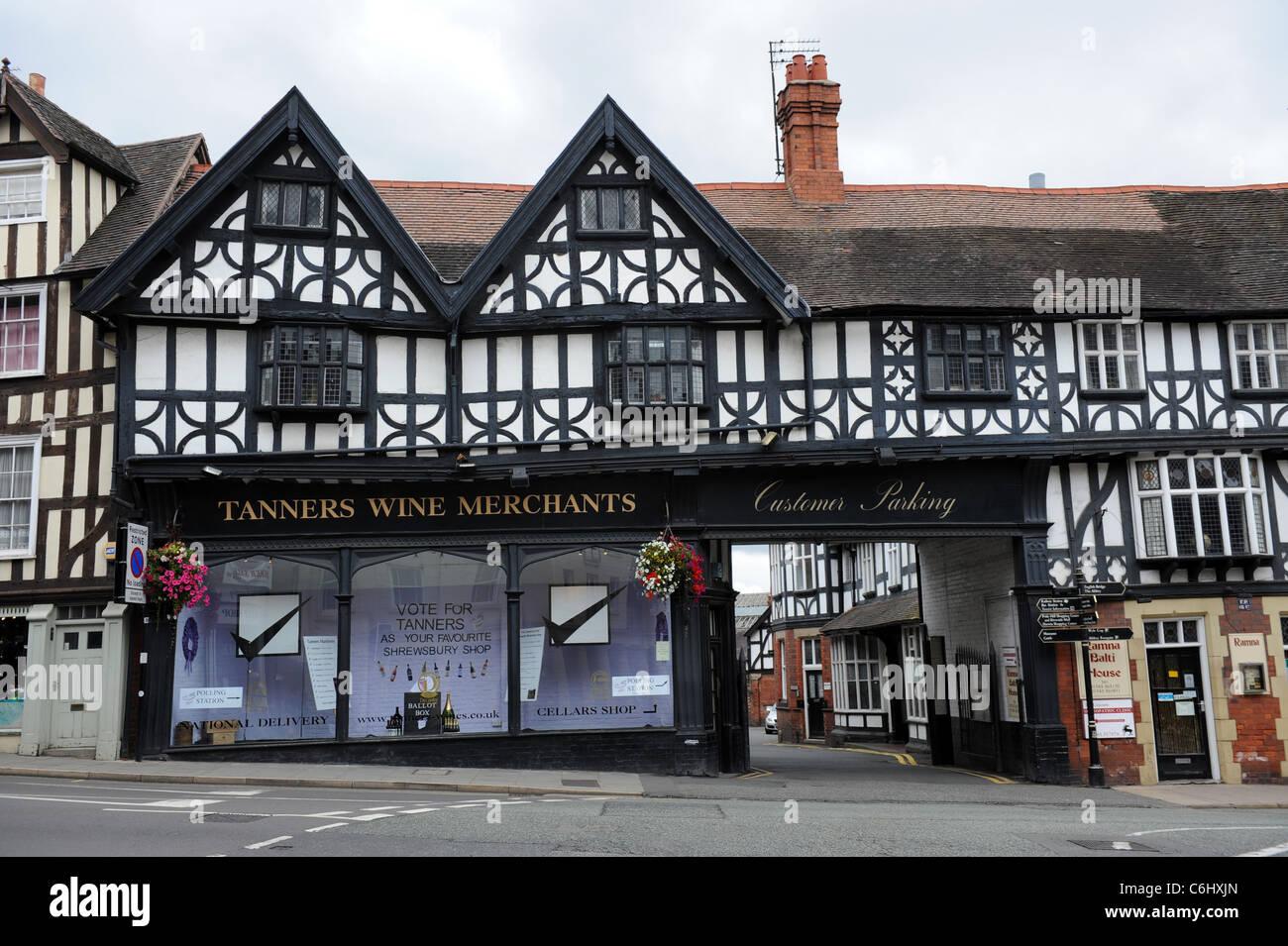 Tanners Wine Merchants in Shrewsbury Shropshire England Uk - Stock Image