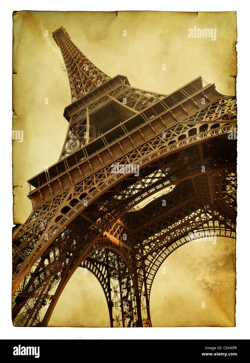 Vntage postcard with Eiffel tower isolated over white background Stock Photo
