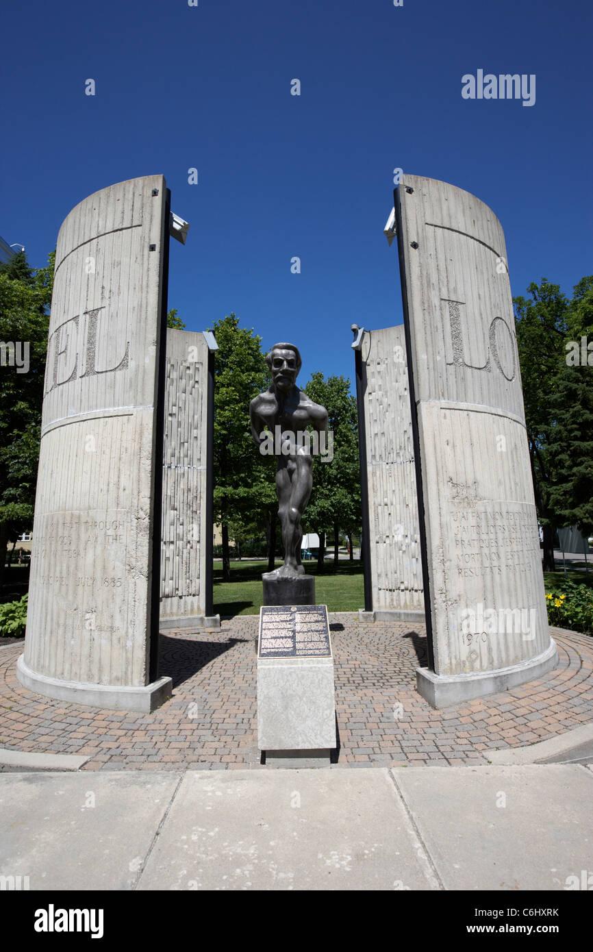 controversial tortured soul sculpture of louis riel now situated at the college universitaire de saint-boniface - Stock Image