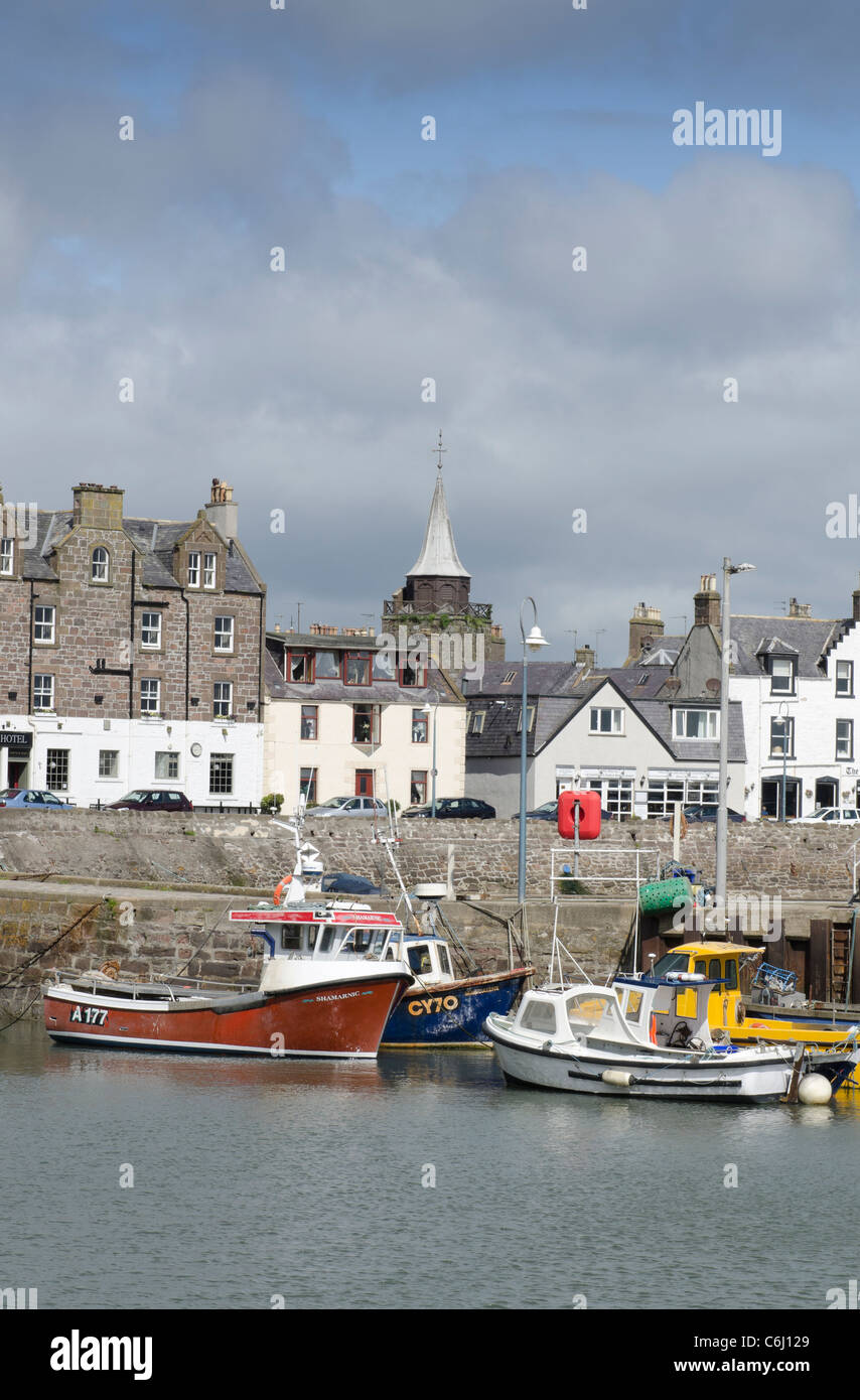 Fishing boats moored at Stonehaven Harbour - Kincardienshire - Stock Image