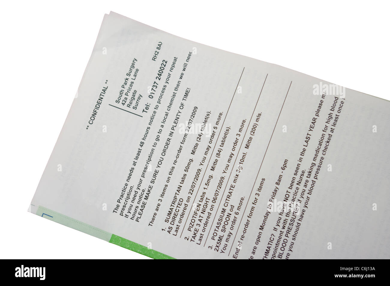 Repeat NHS National Health Service Prescription Form - Stock Image