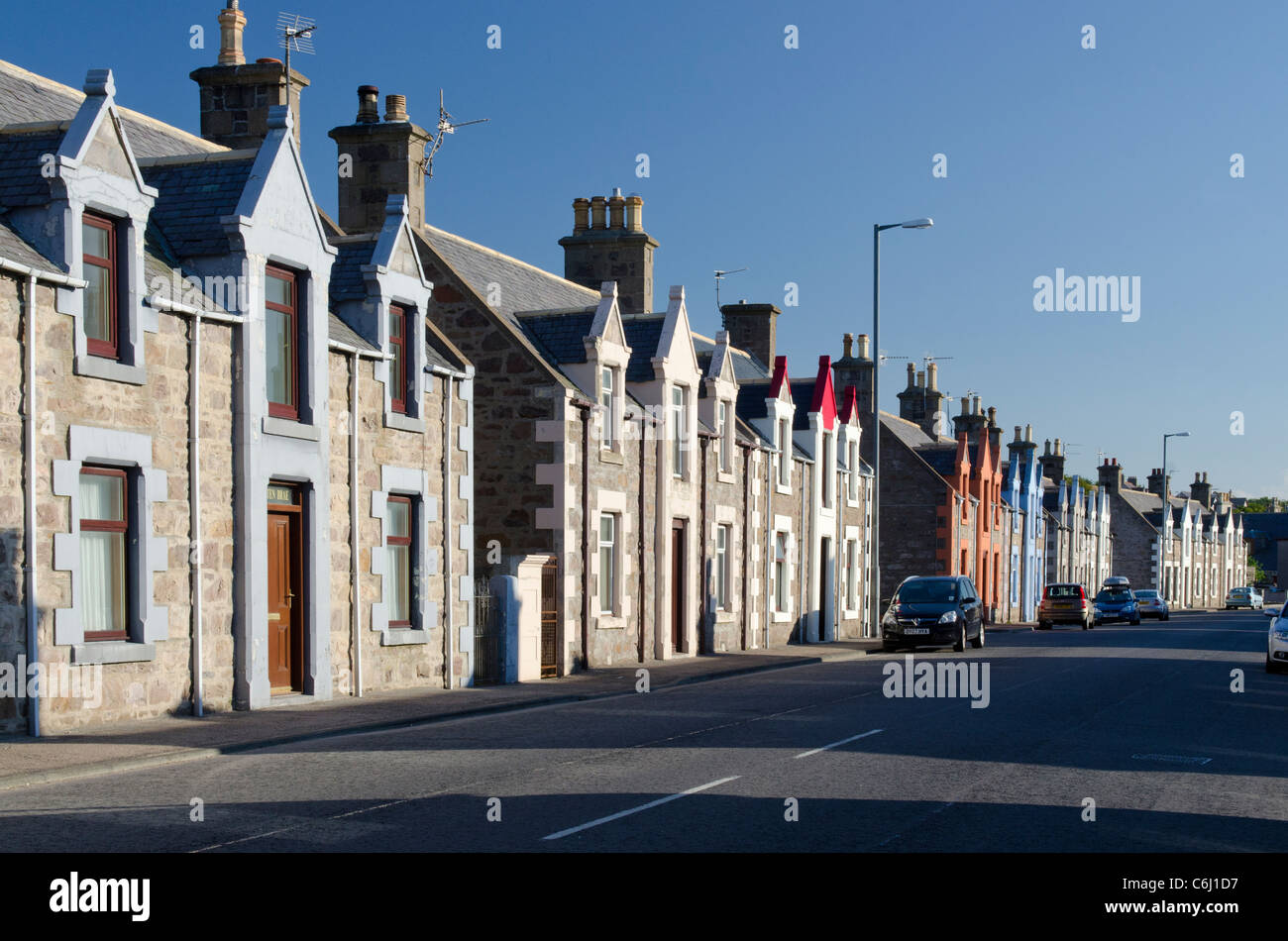 Houses on Reidhaven Street Buckie Moray Coast - Stock Image