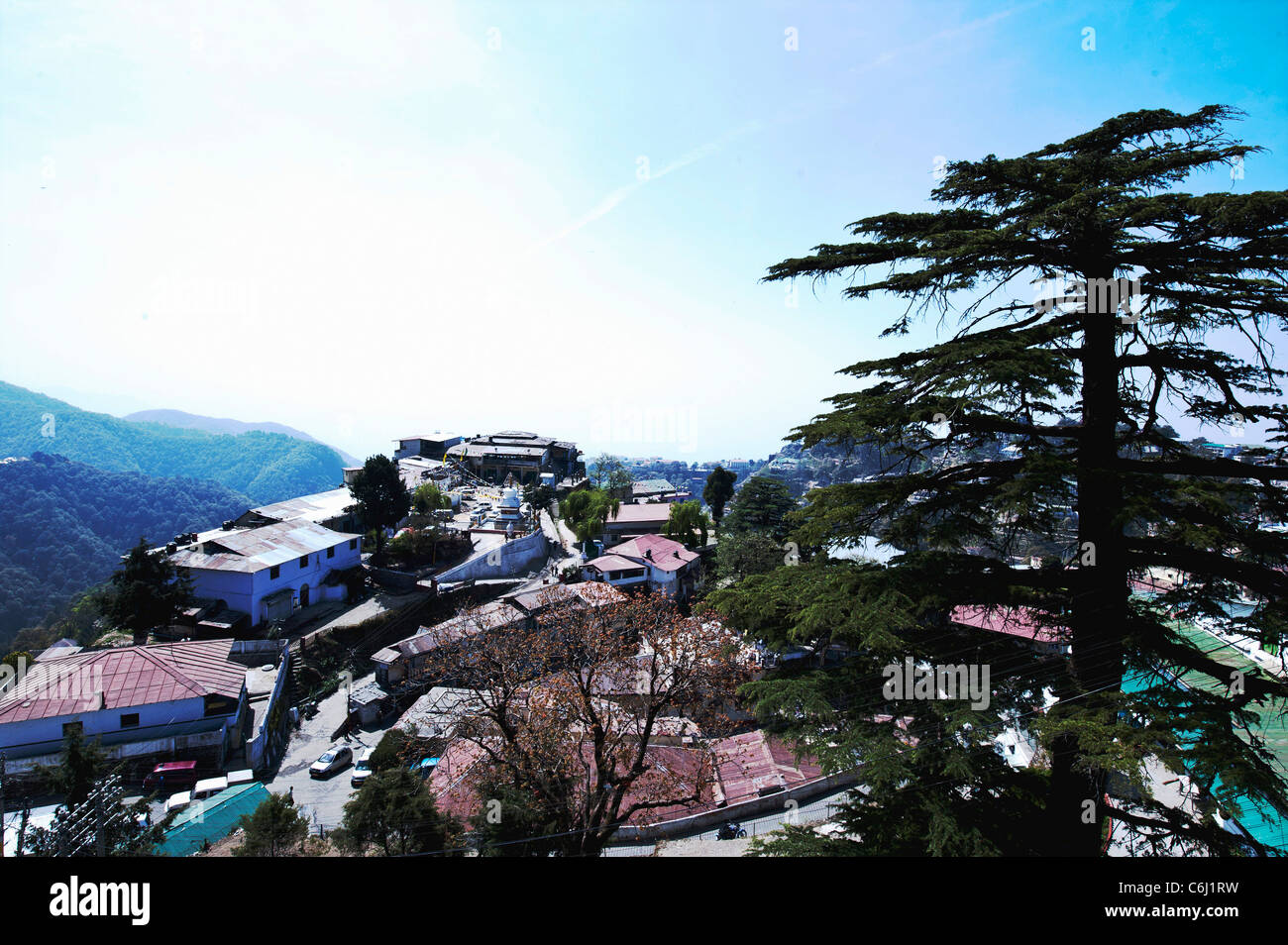 Environmental landscape of Mussuri Town -with tin roof structures-Uttarakhand-India. - Stock Image
