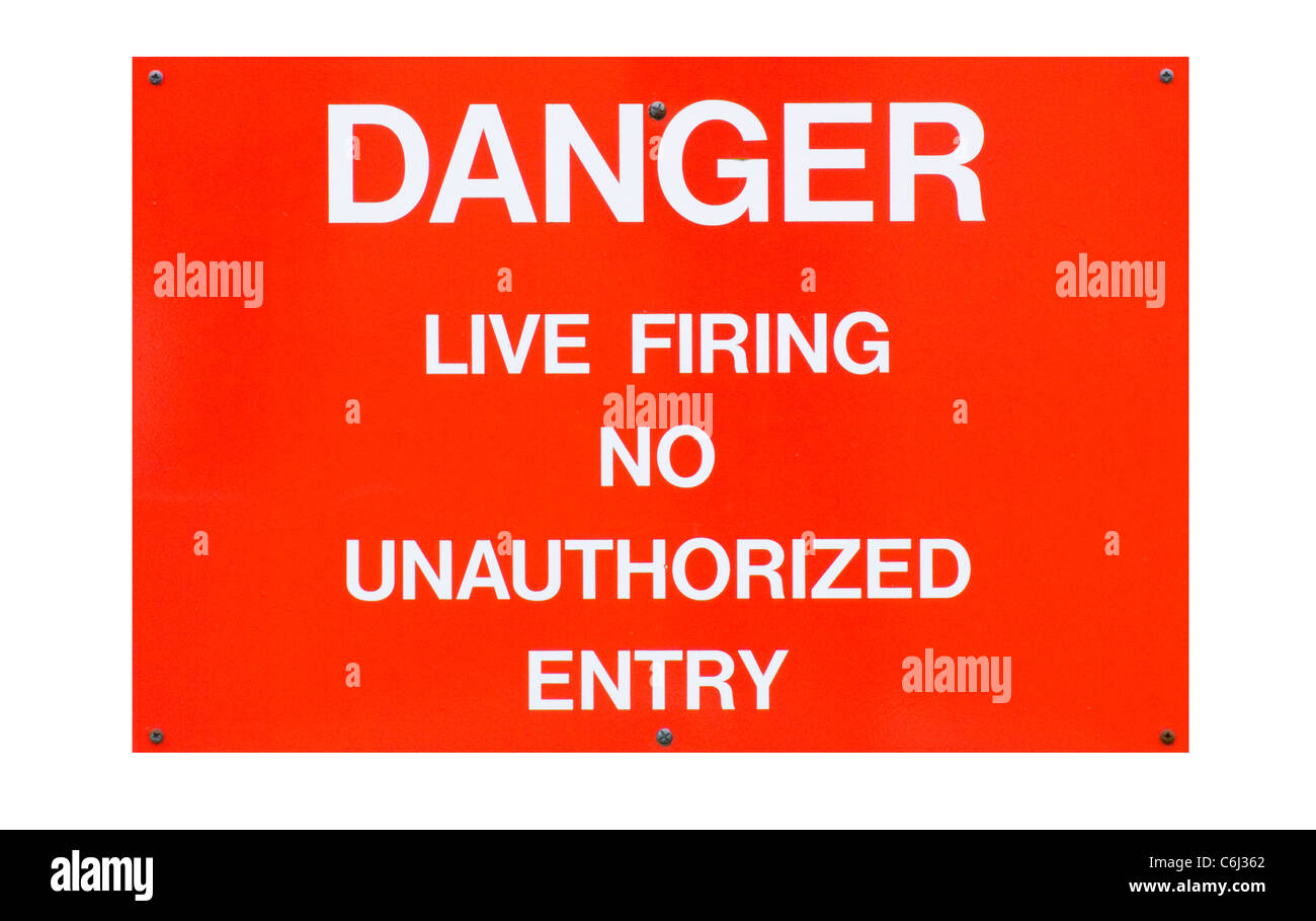 Red Military Danger Live Firing No Unauthorized Entry Sign - Stock Image