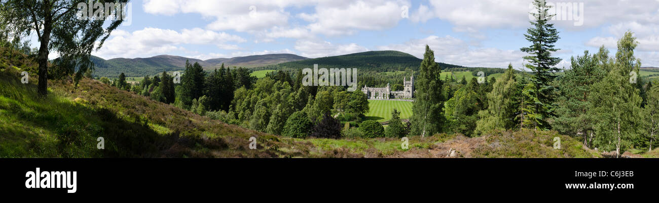 Panoramic view of Balmoral Estate and Castle in summer with trees and lawn - Royal Deeside - Stock Image