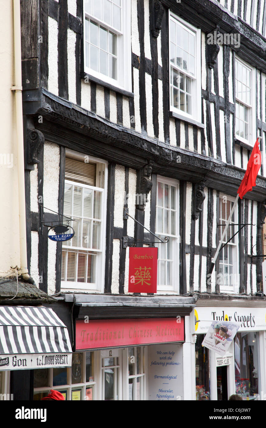 Half Timbered Buildings Ross on Wye Herefordshire England - Stock Image