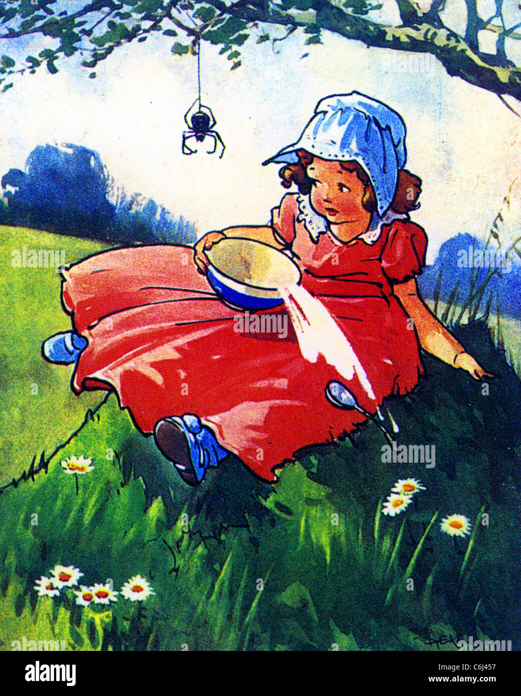 LITTLE MISS MUFFET nursery rhyme - Stock Image