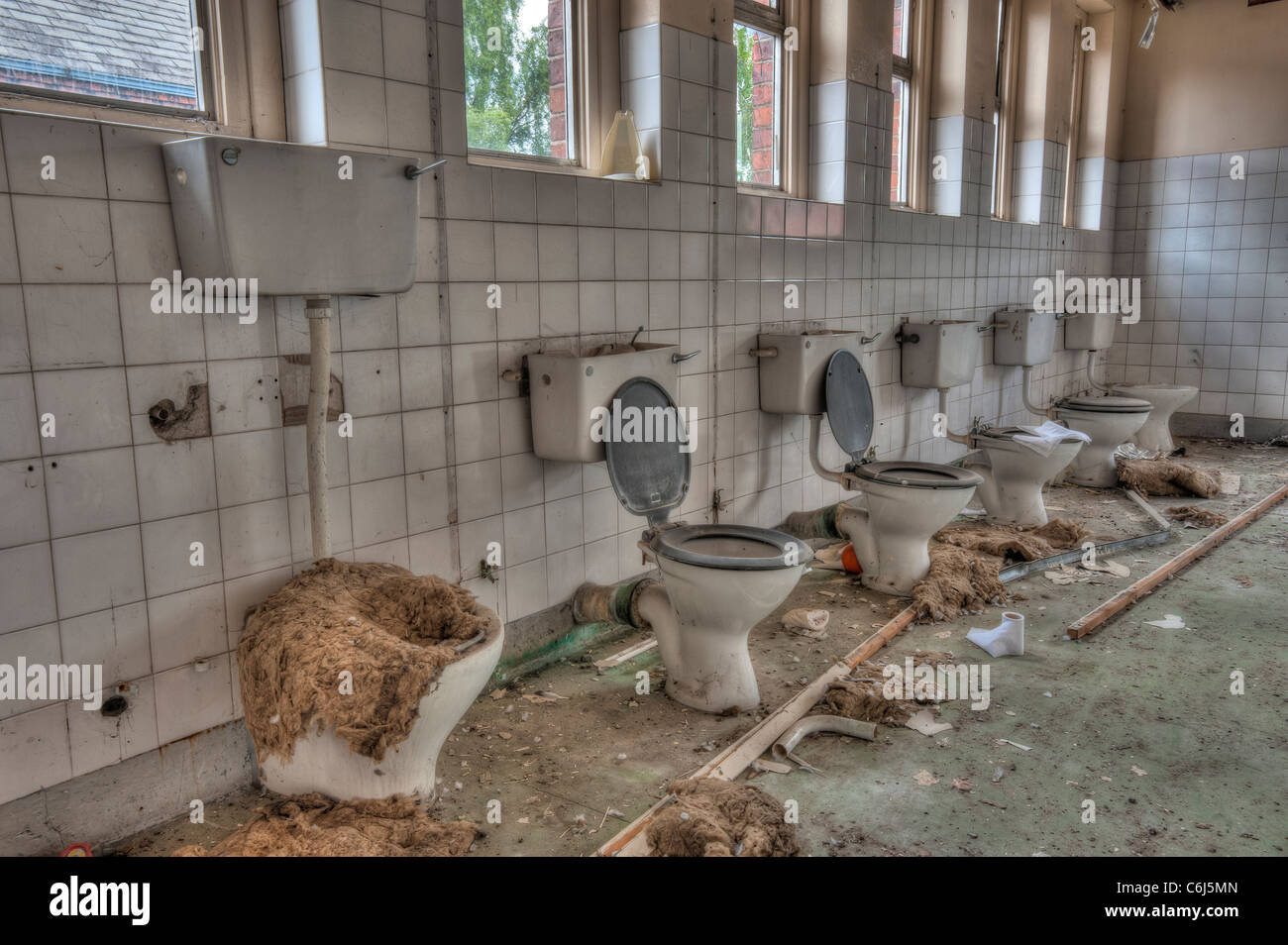 Vandalized Toilets in the Lunatic Asylum Wing of a Derelict Hospital - Stock Image