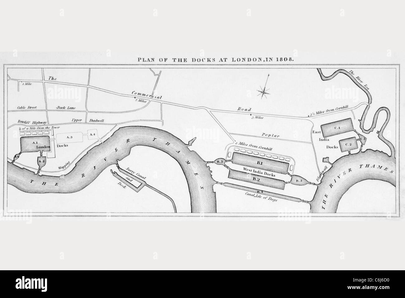 Plan of London docks as they were in 1808. - Stock Image