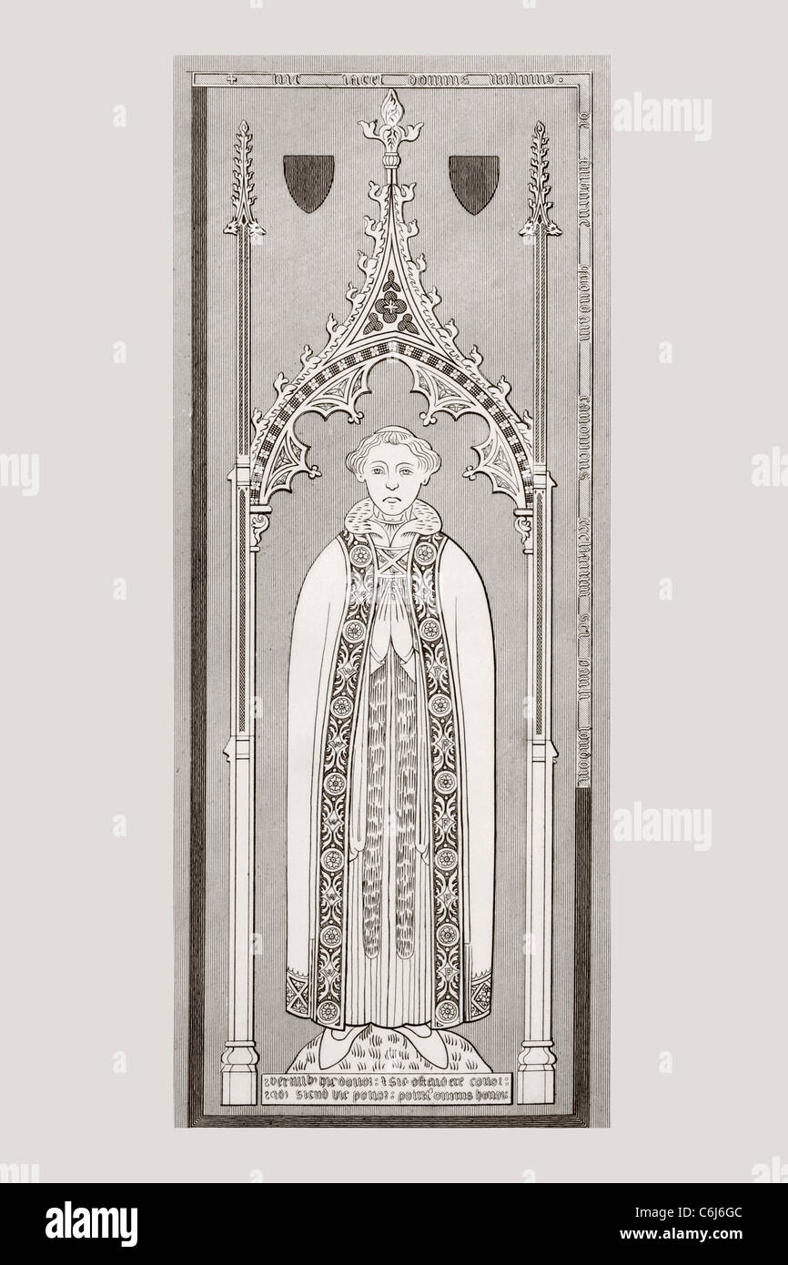 After engraved brass on tomb of William de Fulbourn in Fulbourn Church, Cambridgeshire, England. - Stock Image