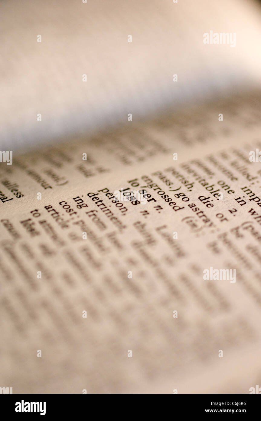 Close up of the word 'Loss' in a dictionary - Stock Image