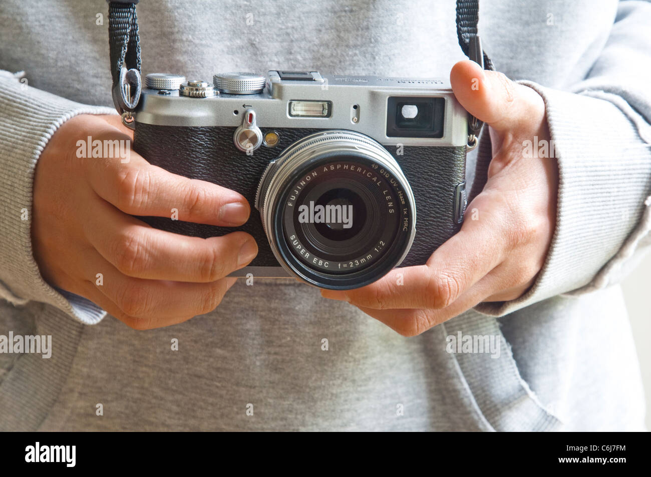 A Fuji X100 (retro style) digital camera, noted for its, compact size, fixed lens and quality 12MP sensor.   Launched - Stock Image