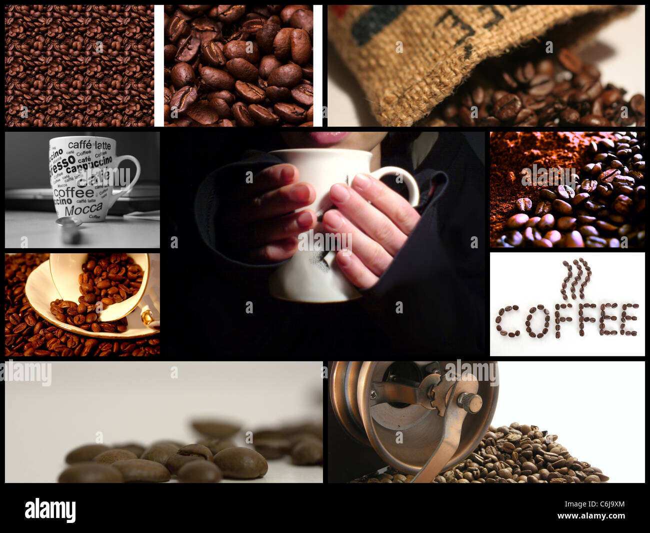 Coffee themed collage made from four images - Stock Image
