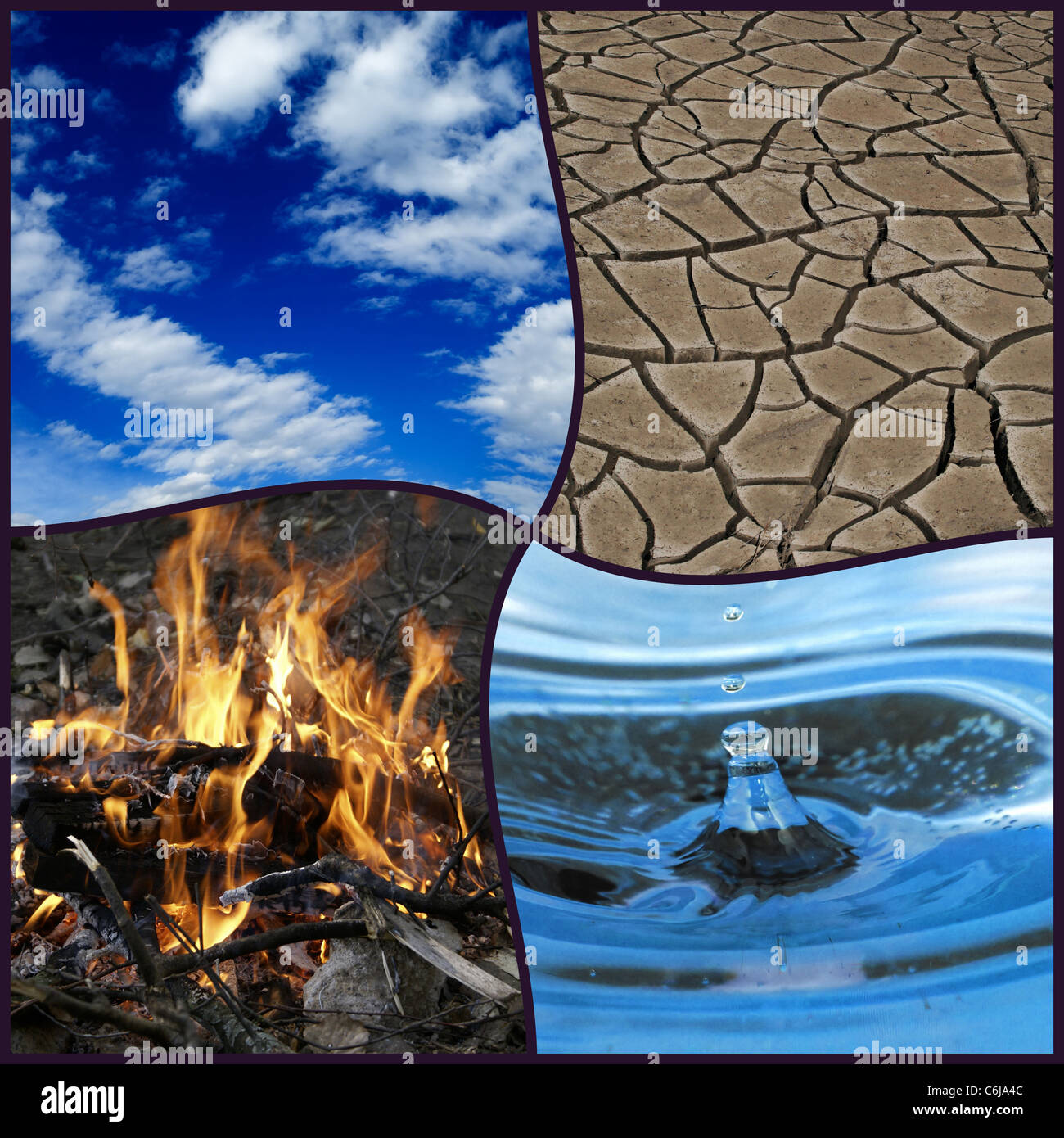 The Four Elements - Air, Fire, Water, Earth - Stock Image