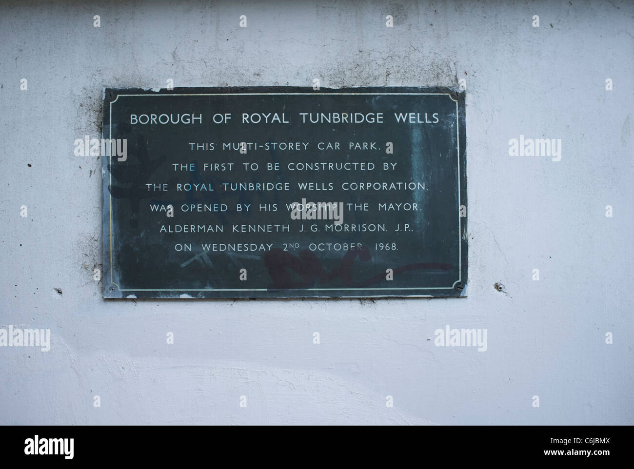 Plaque commorating the opening of a multistorey car park Stock Photo