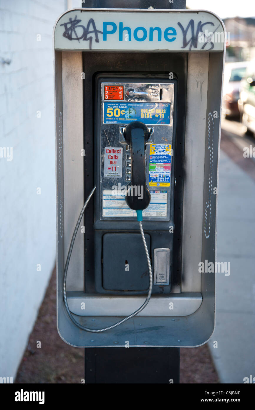 Public telephone box in Arizona, USA - Stock Image