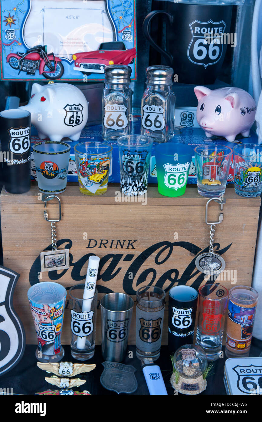 Shop window on Route 66 selling memorabilia, Arizona, USA - Stock Image