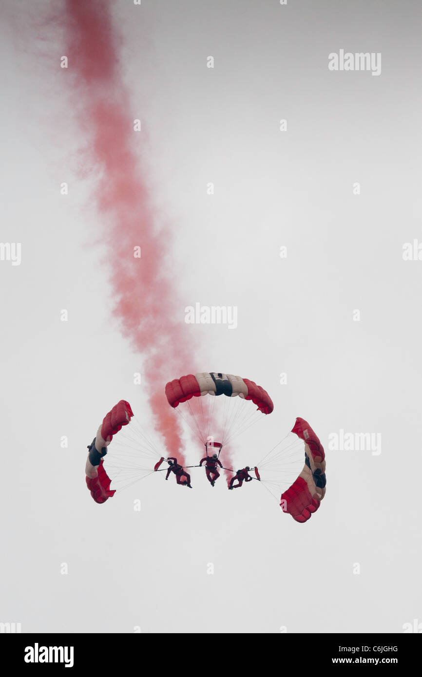 The British Army's Red Devils parachute display team at Shoreham airfield in 2011 - Stock Image