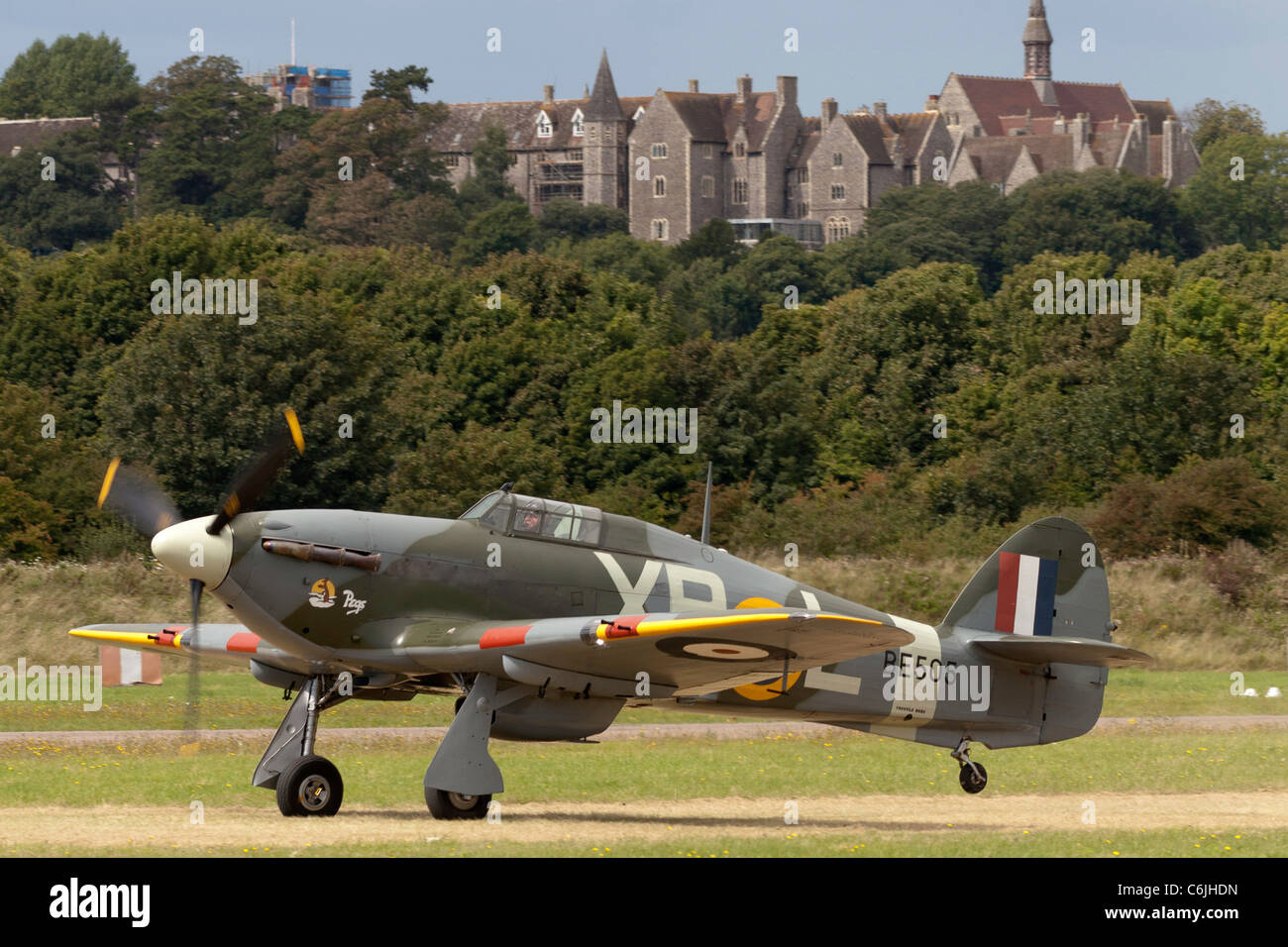 A Hawker Hurricane fighter bomber at Shoreham airfield in 2011 - Stock Image