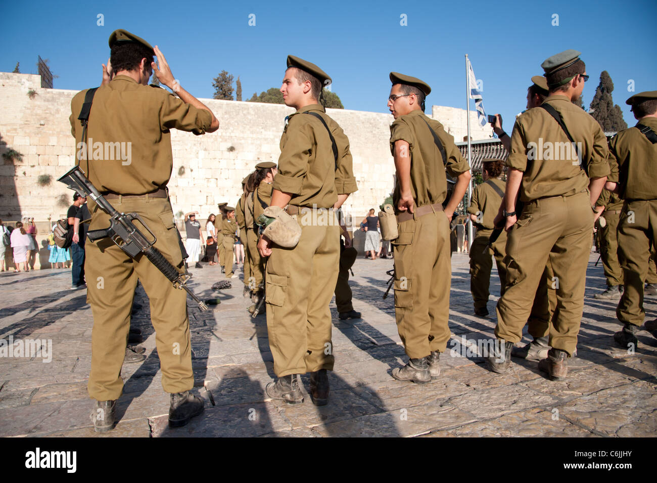 Graduates of the Israeli Army's Marva program, which allows young Jews from other countries to receive military Stock Photo