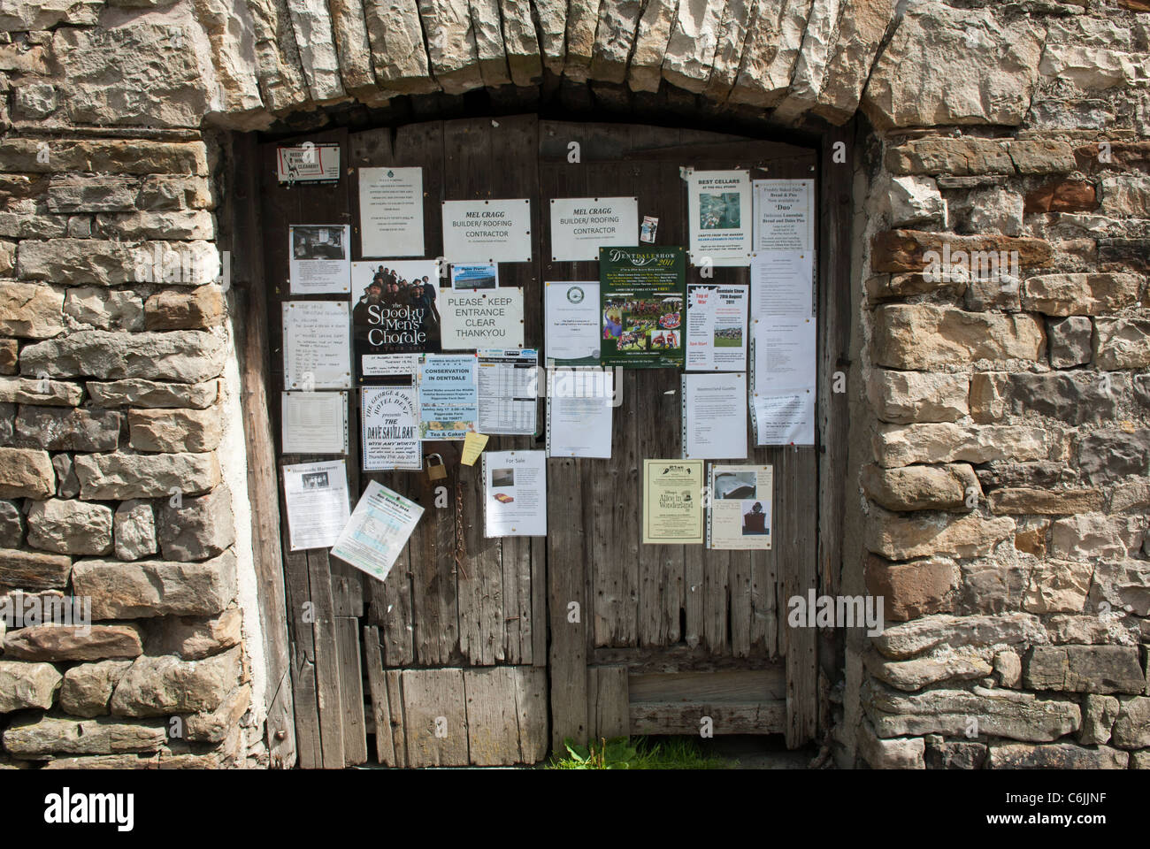 Village notices pinned to barn doors Dent Dentdale North Yorkshire England. & Village notices pinned to barn doors Dent Dentdale North Stock ...